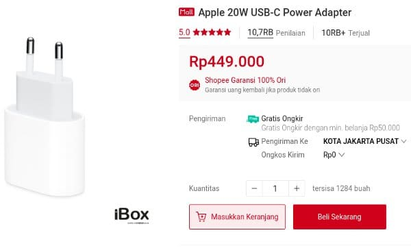 charger apple ori 20W USB-C Power Adapter