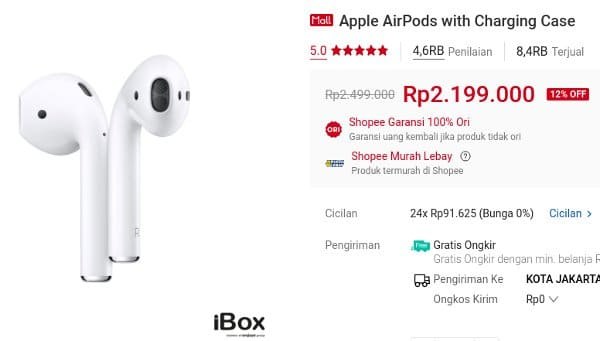 ibox shopee earphone Apple AirPods with Charging Case