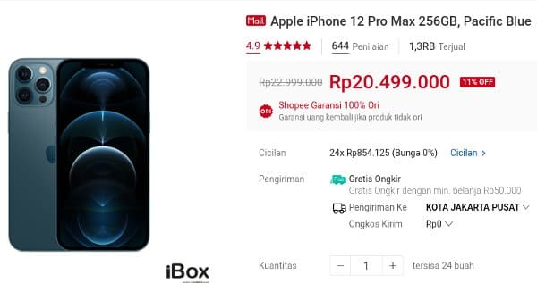 ibox shopee Apple iPhone 12 Pro Max 256GB, Pacific Blue