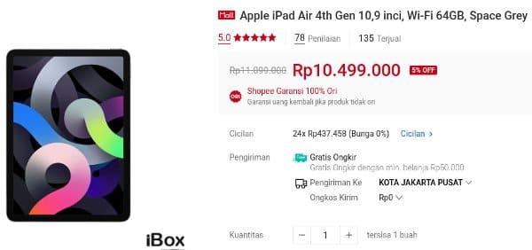 ibox shopee Apple iPad Air 4th Gen 10,9 inci