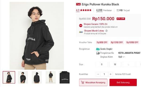 jaket hoodie Erigo Pullover Kuroka Black