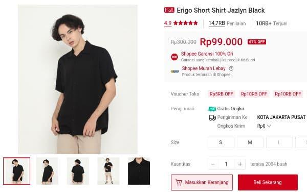 kemeja erigo murah Short Shirt Jazlyn Black