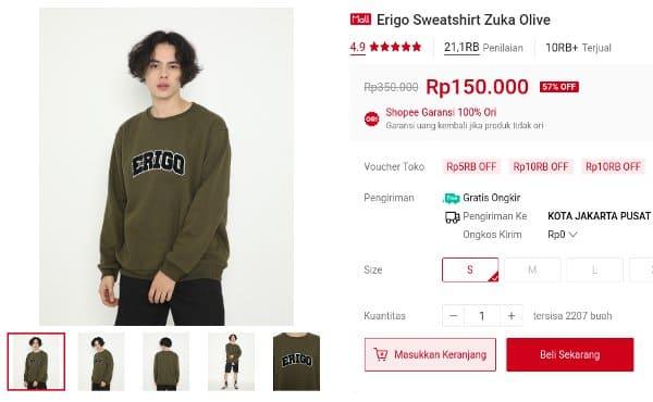 sweater Erigo Sweatshirt Zuka Olive